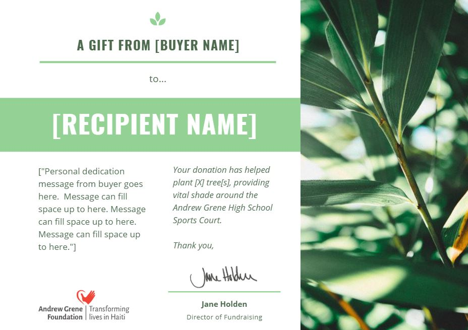 Tree gift certificate